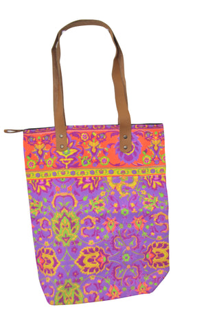 Batik Style Neon Colour Tote Bag with Zip - Fluro Purple