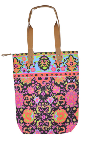 Batik Style Neon Colour Tote Bag with Zip - Black