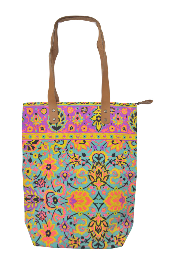 Batik Style Neon Colour Tote Bag with Zip - Green