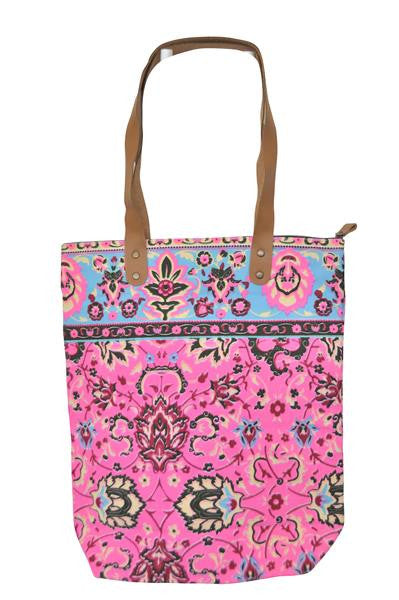 Batik Style Neon Colour Tote Bag with Zip - Neon Pink