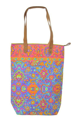 Batik Style Neon Colour Tote Bag with Zip - Blue