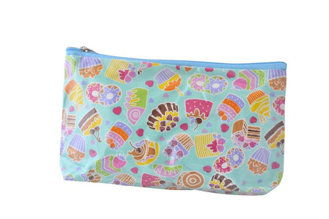 Plastic Covered Cosmetic Bags - Blue Cupcakes