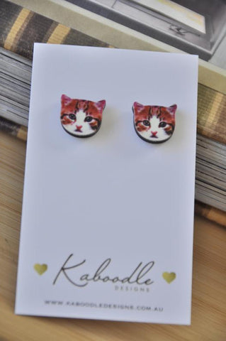 Wooden Laser Cut Cat Face Stud Earrings