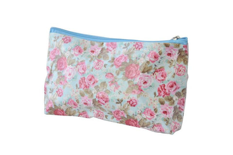 Plastic Covered Cosmetic Bags Pencil Case - Shabby Chic Roses