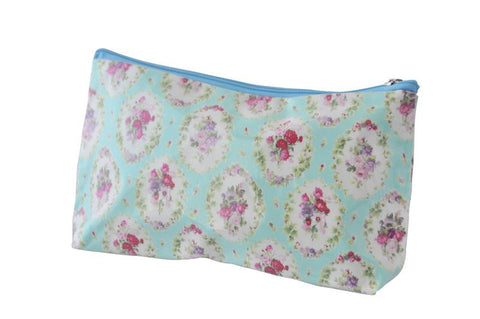 Plastic Covered Cosmetic Bags Pencil Case - Shabby Chic Flowers