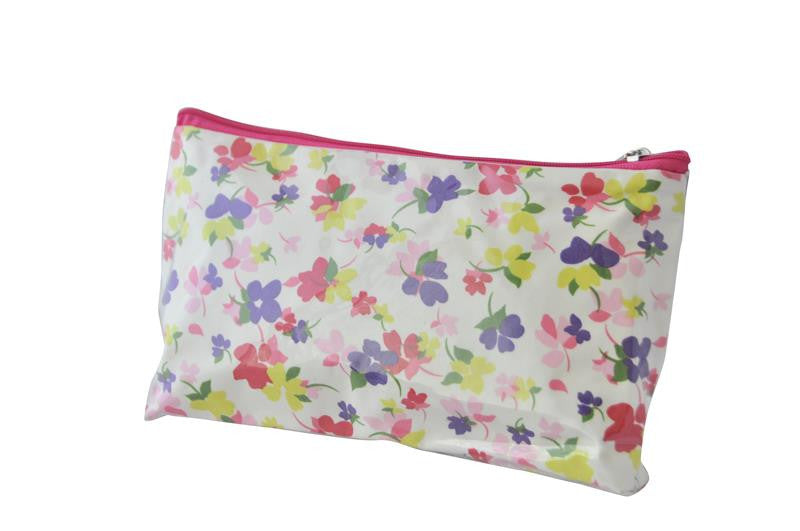 Plastic Covered Cosmetic Bags Pencil Case - Flowers 2