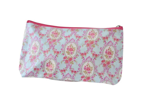 Plastic Covered Cosmetic Bags Pencil Case - Shabby Chic Flowers 2