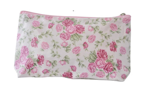 Plastic Covered Cosmetic Bags Pencil Case - Shabby Chic  Roses in Pink