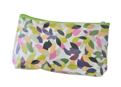 Plastic Covered Cosmetic Bags Pencil Case - Leaves in Olive Green