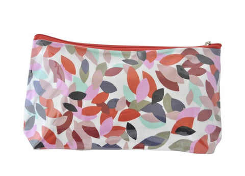 Plastic Covered Cosmetic Bags Pencil Case - Leaves in Red