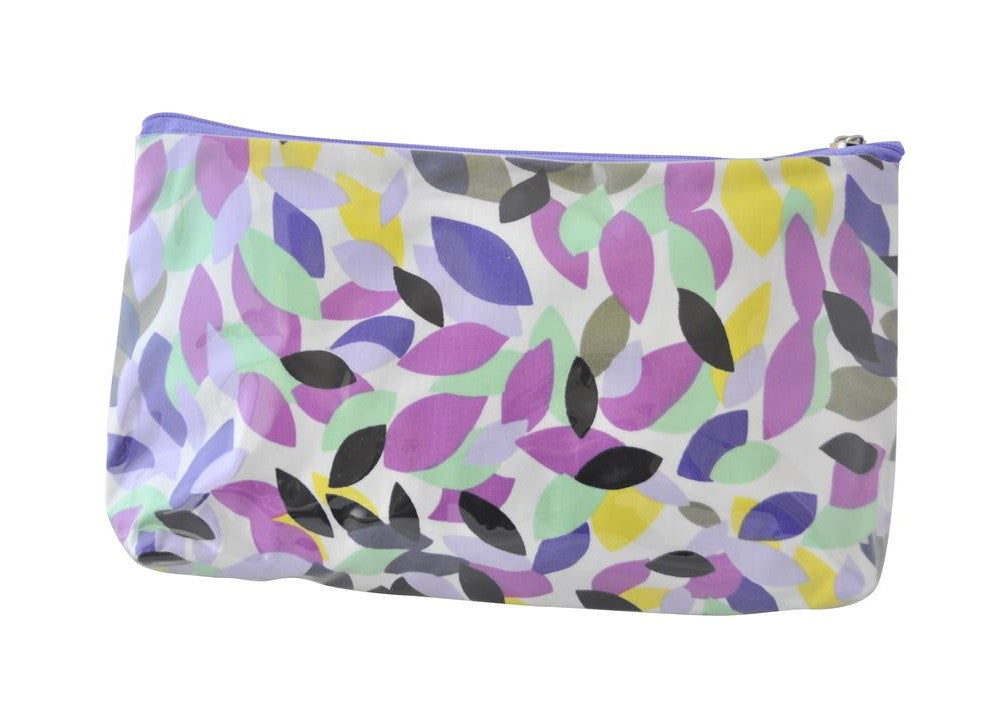 Plastic Covered Cosmetic Bags Pencil Case - Leaves in Purple