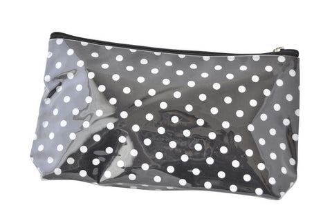 Plastic Covered Cosmetic Bags Pencil Case - Polkadots Black and White