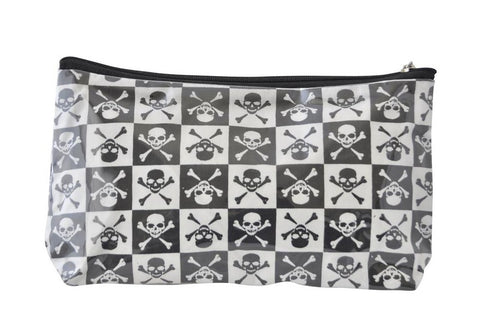 Plastic Covered Cosmetic Bags Pencil Case - Skulls