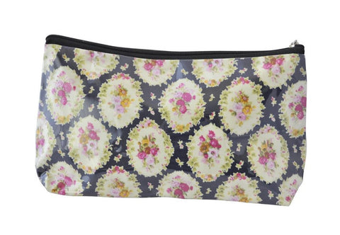 Plastic Covered Cosmetic Bags Pencil Case - Shabby Chic Flowers 3