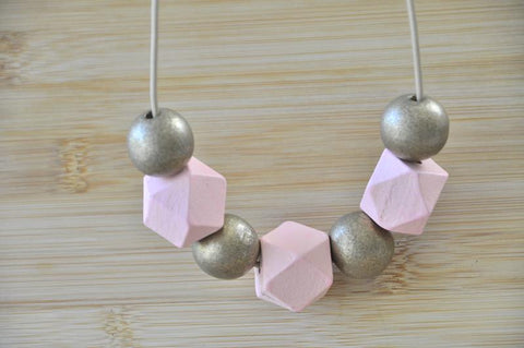 Wooden Geometric Adjustable Necklace - WD004