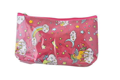 Plastic Covered Cosmetic Bags Pencil Case - Unicorns and Rainbows