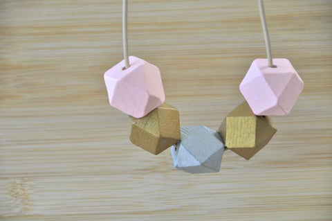 Wooden Geometric Adjustable Necklace - WD005