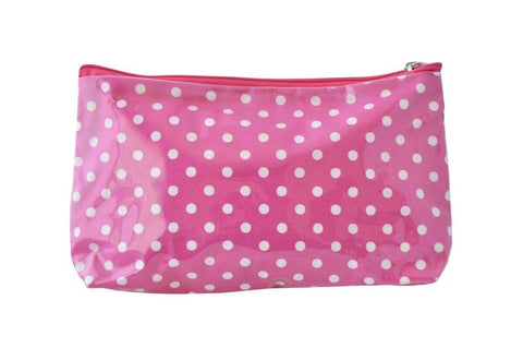 Plastic Covered Cosmetic Bags Pencil Case - Polkadots Pink and White