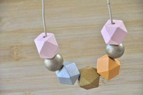 Wooden Geometric Adjustable Necklace - WD008