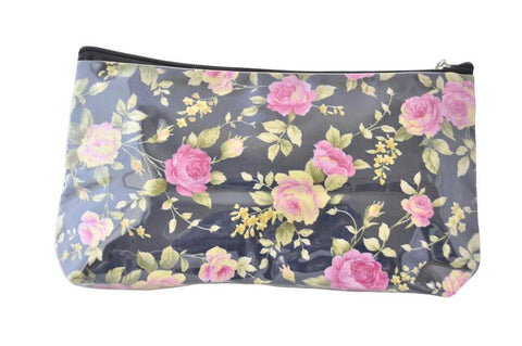 Plastic Covered Cosmetic Bags Pencil Case -  Shabby Chic Roses in Black