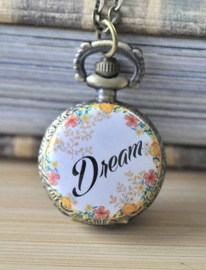 Handmade Artwork Stainless Steel Pocket Watch Necklace - Flower Wreath Dream Script