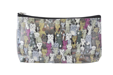 Plastic Covered Cosmetic Bags Pencil Case -  Cats