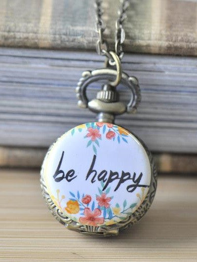 Handmade Artwork Stainless Steel Pocket Watch Necklace - Flower Wreath BE HAPPY