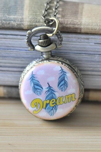 Handmade Artwork Stainless Steel Pocket Watch Necklace - Bohemian Feather Dream Script