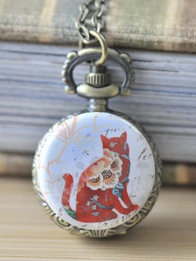 Handmade Artwork Stainless Steel Pocket Watch Necklace - Colourful Cat