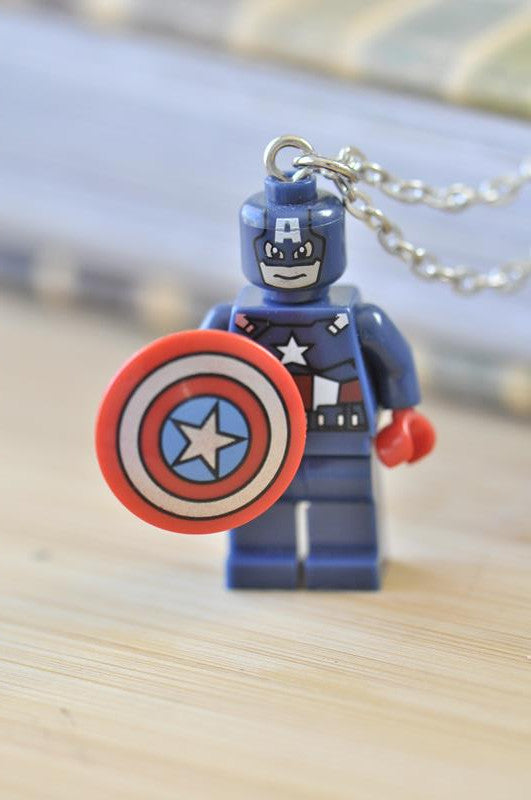 Superhero Lego Inspired Novelty Necklace - Captain America