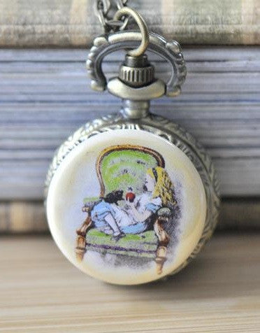 Handmade Artwork Stainless Steel Pocket Watch Necklace - Alice In Wonderland Alice on Chair