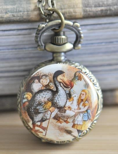 Handmade Artwork Stainless Steel Pocket Watch Necklace - Alice In Wonderland 2