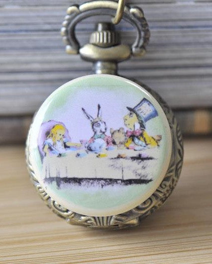 Handmade Artwork Stainless Steel Pocket Watch Necklace - Alice In Wonderland Mad Hatter Tea Party