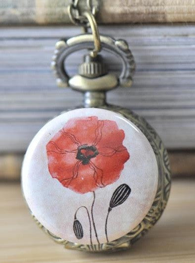 Handmade Artwork Stainless Steel Pocket Watch Necklace - Red Poppy