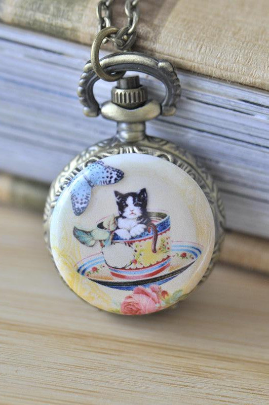Handmade Artwork Stainless Steel Pocket Watch Necklace - Vintage Cat in a Tea Cup