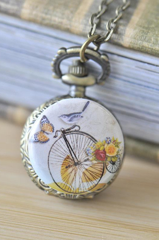Handmade Artwork Stainless Steel Pocket Watch Necklace - Vintage Bird on a Penny Farthing