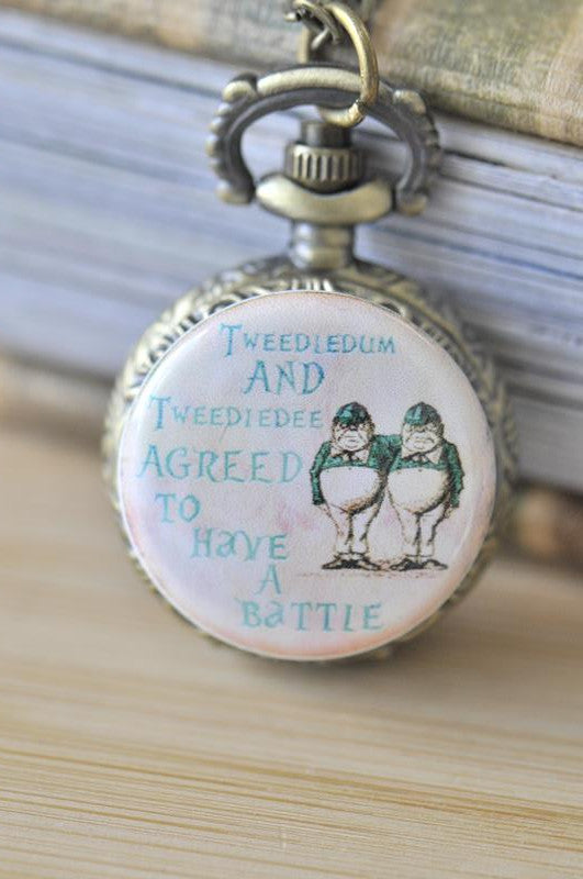 Handmade Artwork Stainless Steel Pocket Watch Necklace - Alice In Wonderland Tweedledum and Tweedledee