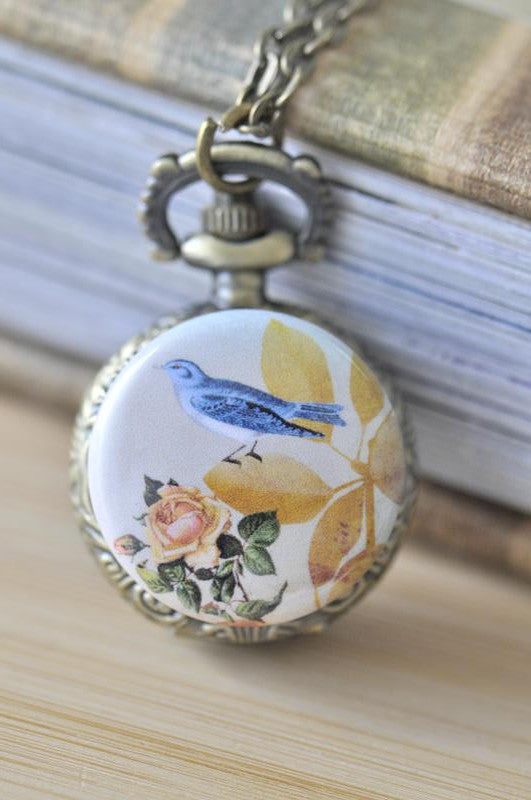 Handmade Artwork Stainless Steel Pocket Watch Necklace - Vintage Bird and Rose