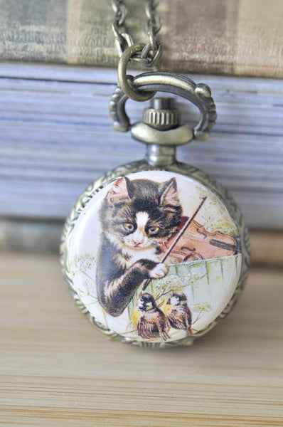Handmade Artwork Stainless Steel Pocket Watch Necklace - Vintage Cat with Violin
