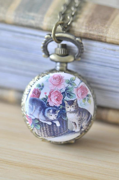 Handmade Artwork Stainless Steel Pocket Watch Necklace - Vintage Cat with Roses