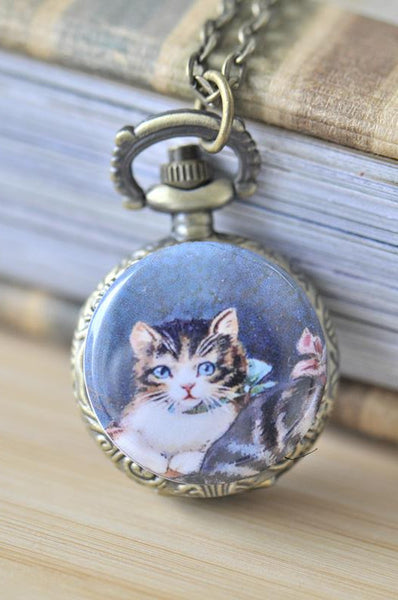 Handmade Artwork Stainless Steel Pocket Watch Necklace - Vintage Cat