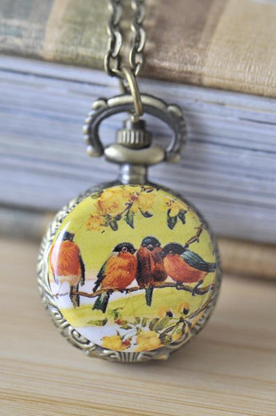 Handmade Artwork Stainless Steel Pocket Watch Necklace - Vintage Four Birds