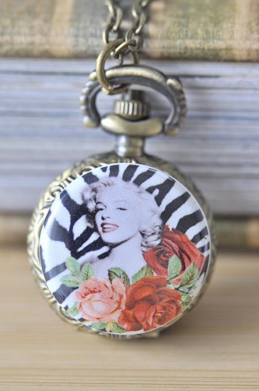 Handmade Artwork Stainless Steel Pocket Watch Necklace - Marilyn Monroe in Zebra and Rose
