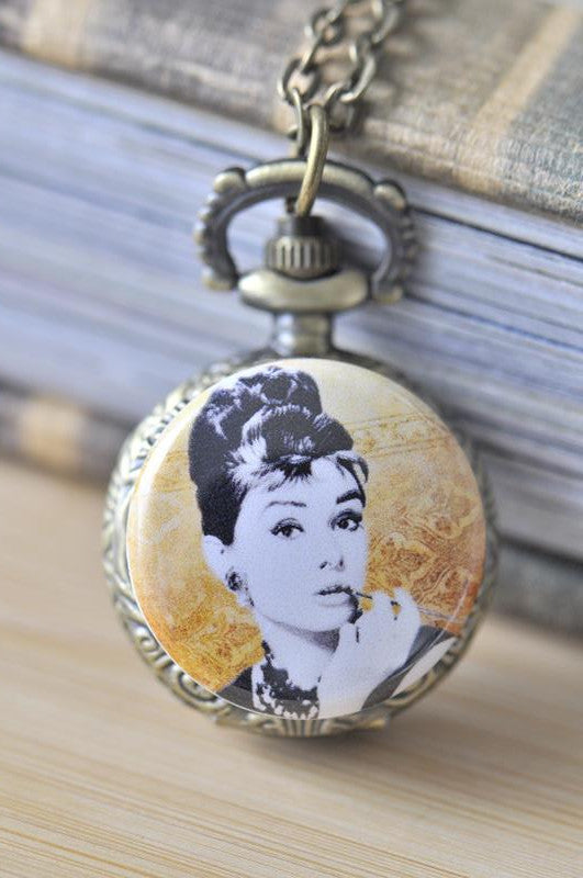 Handmade Artwork Stainless Steel Pocket Watch Necklace - Audrey Hepburn in Vector Orange