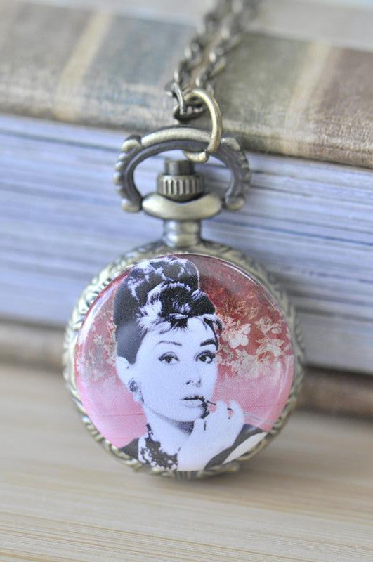 Copy of Handmade Artwork Stainless Steel Pocket Watch Necklace - Audrey Hepburn Red Vector Floral