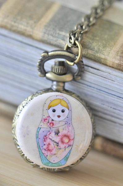 Handmade Artwork Stainless Steel Pocket Watch Necklace - Babushka