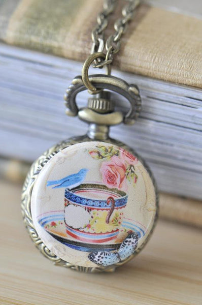 Handmade Artwork Stainless Steel Pocket Watch Necklace - Vintage Bird On A Tea Cup