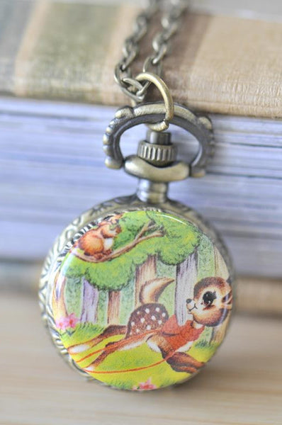 Handmade Artwork Stainless Steel Pocket Watch Necklace - Vintage Woodlands Bambi Deer