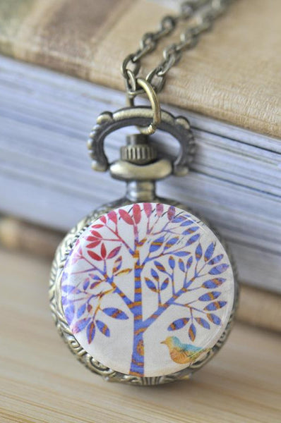 Handmade Artwork Stainless Steel Pocket Watch Necklace - Multi Tree with Bird