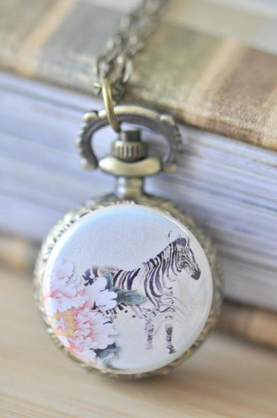 Handmade Artwork Stainless Steel Pocket Watch Necklace - Zebra and Rose